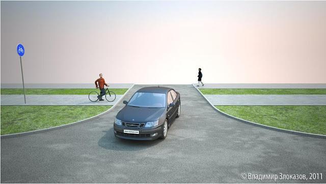 пересечение проезжей части с велодорожкой