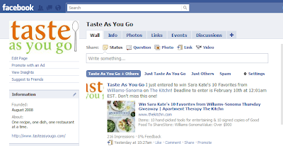 Taste As You Facebook Page Screenshot