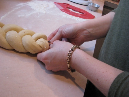 Braiding the Challah Dough - Photo Courtesy of Hillary Kwiatek