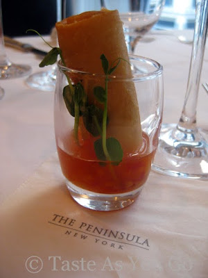 Shrimp Spring Roll with Fresh Ginger at Fives at The Peninsula New York in New York, NY - Photo by Taste As You Go