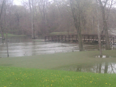 Flooded Footbridge over the Huron River