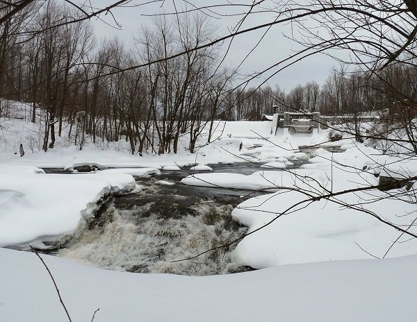 Colton dam on the Raquette River in winter