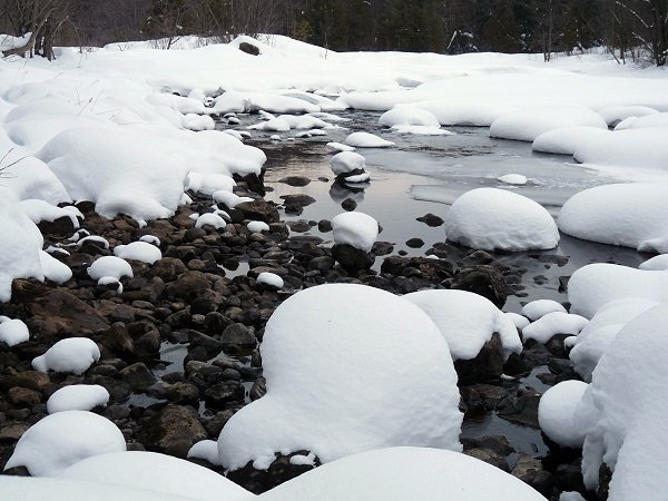 snow pillows on the river