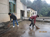Students cleaning