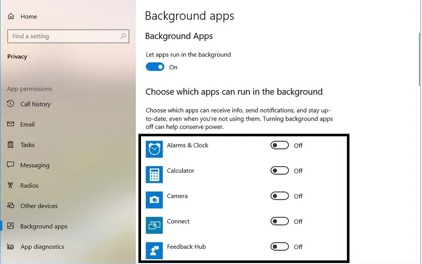 Boost your PC performance By disabling background apps.