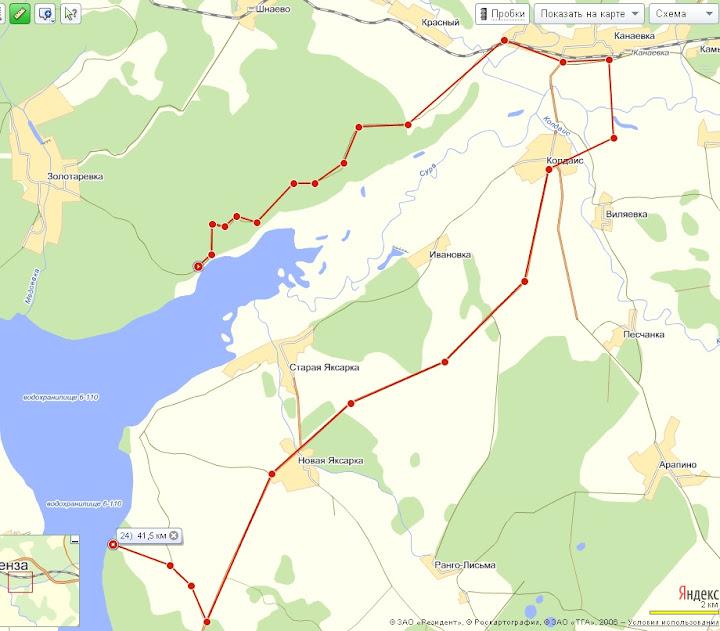 Маршрут третьего дня (72 км):