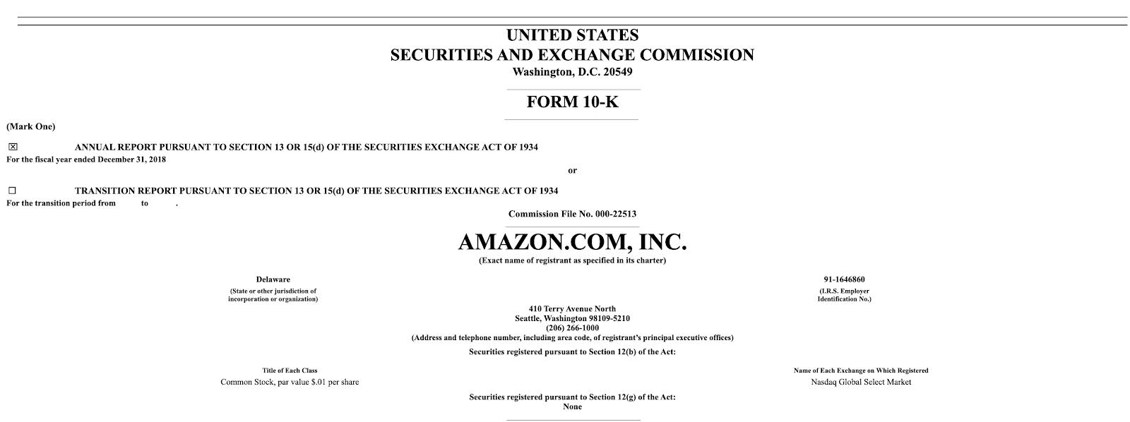 U.S. SEC filing for Amazon.com