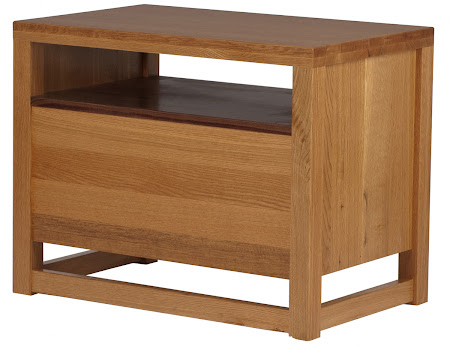 Sumatra Nightstand with Drawers, Solid Wood Rear Panel, in Natural Walnut and Quarter Sawn Oak