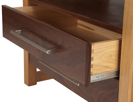 Sumatra Nightstand with Drawers, in Natural Walnut and Quarter Sawn Oak, shown with Special Sumatra Hardware