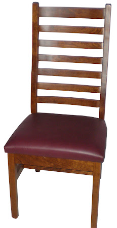 Horizon Chair in Antique Cherry, Rounded Red Letaher Seat