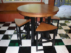 42 Inch Barcelona Pub Table and Barstools in Midnight Oak & Medium Oak