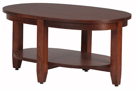 Round Granada Coffee Table in Chocolate Cherry, Shown with Bottom Shelf [Pin It]