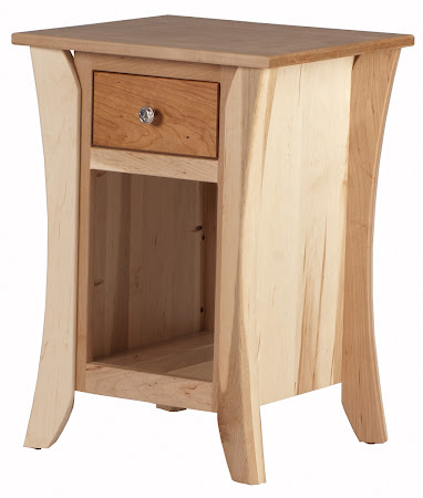 Kyoto Nightstand with Shelf, in Natural Hard Maple and Cherry, Custom Hardware