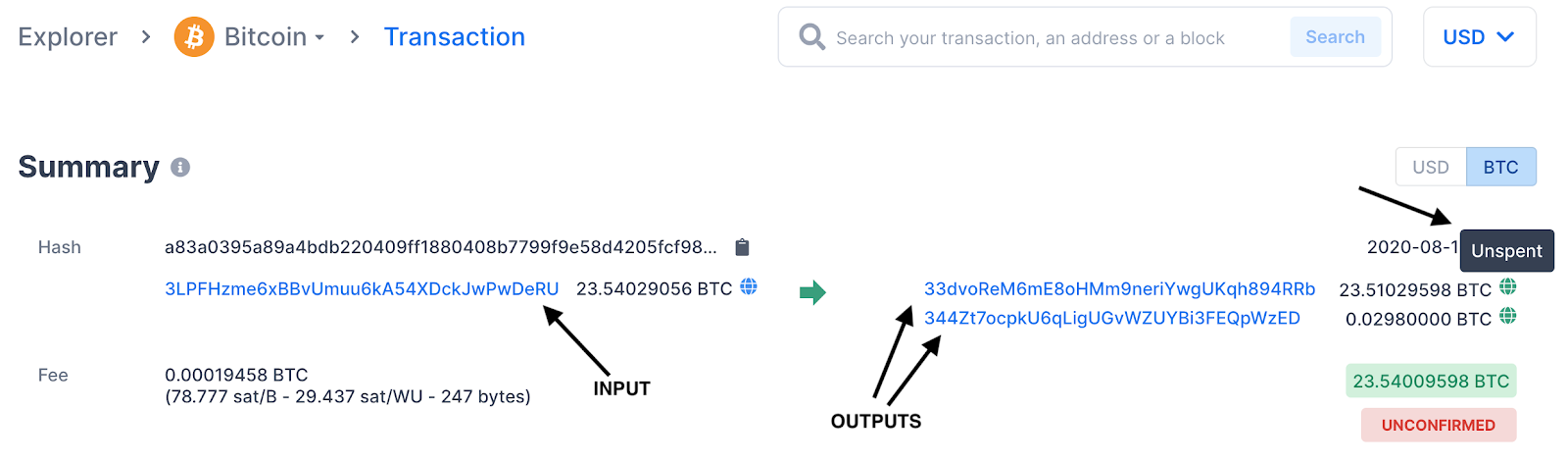 Example of a Bitcoin transaction showing its input and outputs