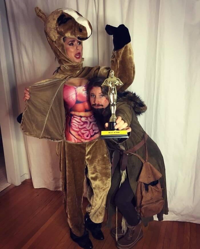 Nina Dobrev And A Friend Win An Oscar As Leonardo DiCaprio And The Horse From The Revenant