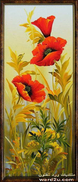 لوحات زهور بالالوان الزيتية
