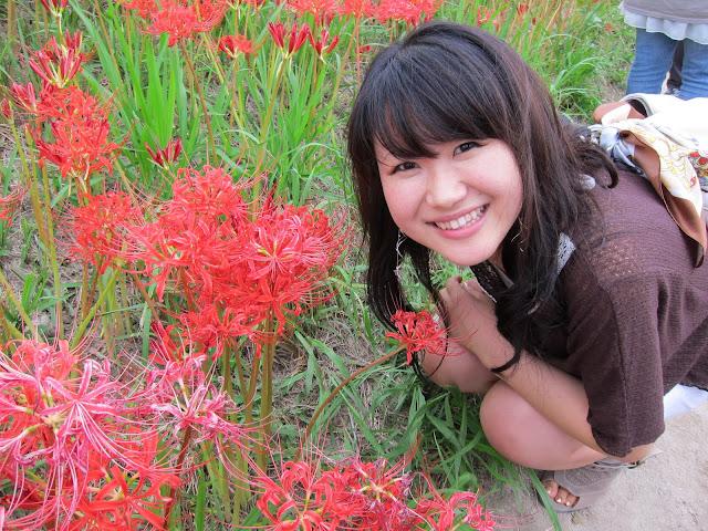 花與可愛的日本朋友直美