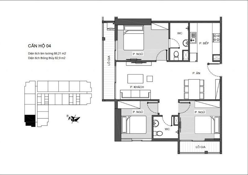 Thiết kế căn hộ 3 PN (1WC) chung cư An Bình Plaza ( căn hộ góc có 2 logia)