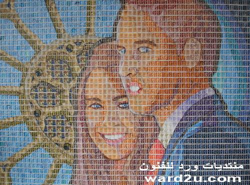 لوحة فنية بالطوابع بمناسبة زفاف امير انجلترا