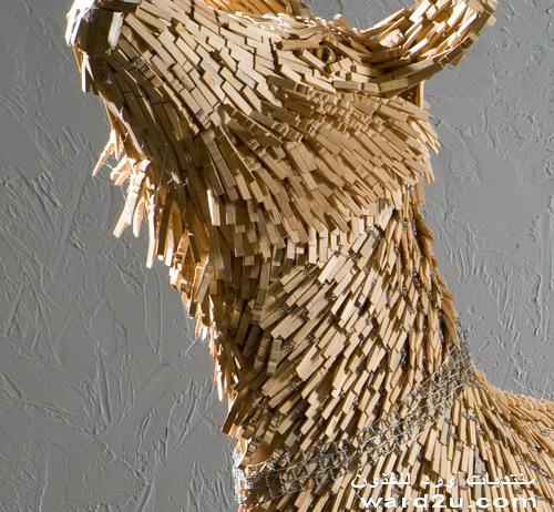 تشكيل حيوانات بقطع خشب وخامات اخرى