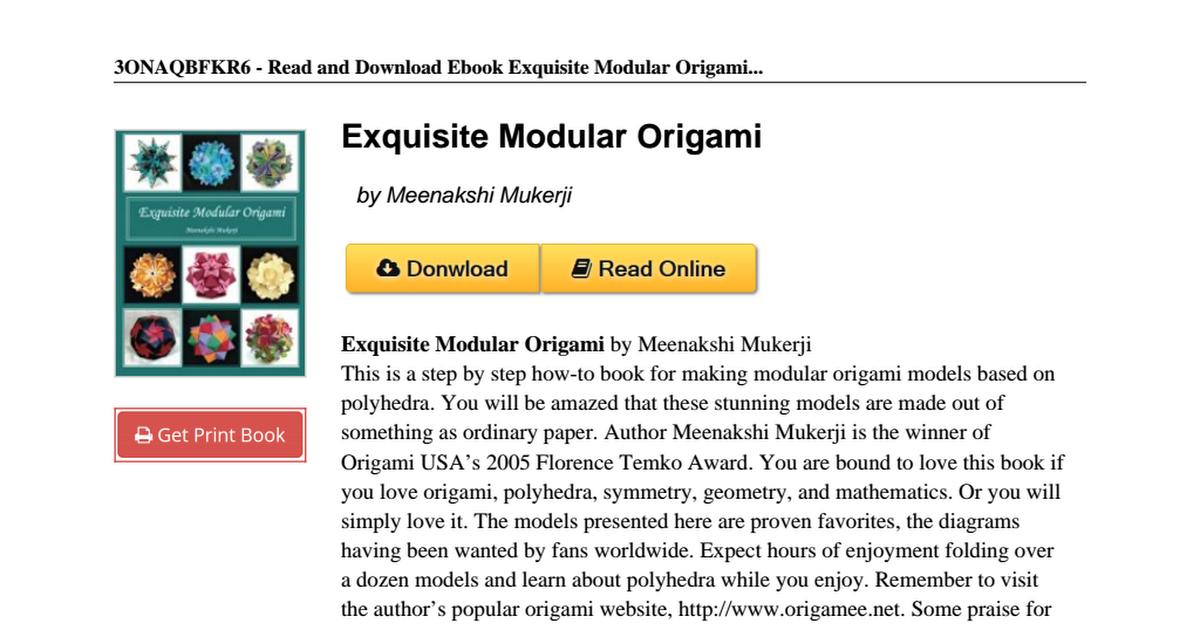 Exquisite Modular Origami - Kindle edition by Mukerji, Meenakshi ... | 630x1200