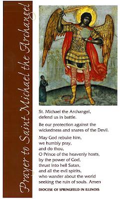 Estampa de la Oración a San Miguel distribuida en la Diócesis de Springfield