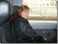 deb on train to Calais