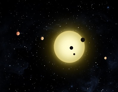 ilustração da estrela Kepler-11 e os seis planetas