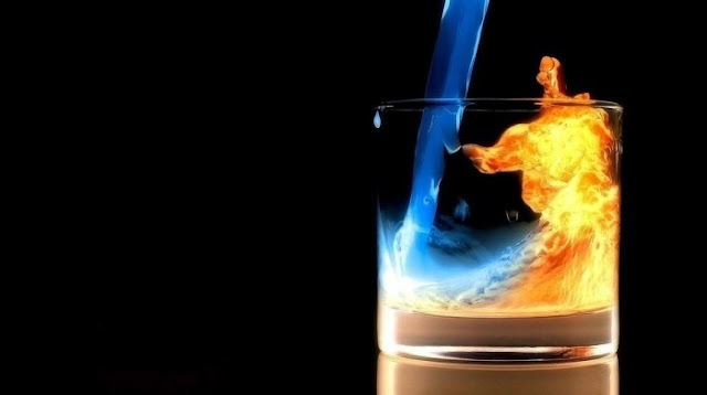 water into fire in glass photography art