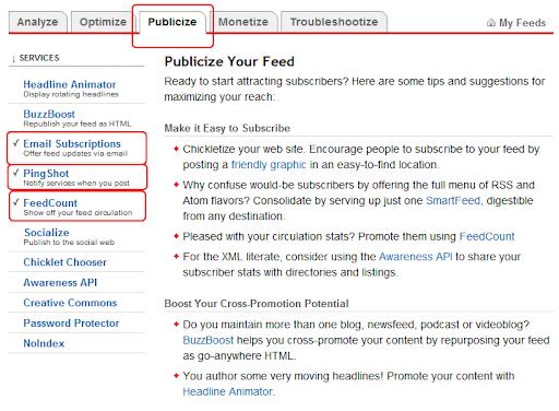feedburner publicize ayarları