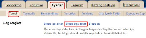 Blogger'da yedek almak