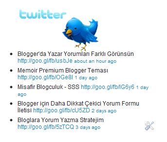 Blogunuzda son tweetleri gösterme