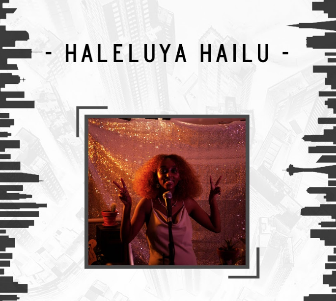 Image of artist Haleluya Hailu giving the peace sign superimposed over two black and white images of the Vancouver skyline