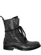 BALMAIN - SIDE ZIPPED LACED CALFSKIN BOOTS