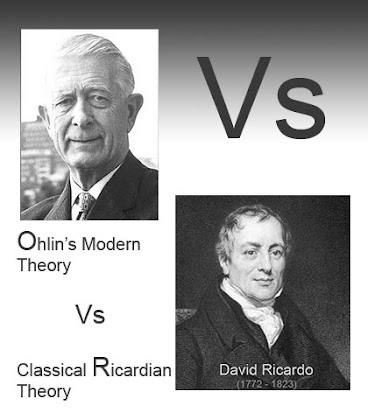 Ohlin modern theory vs classical ricardian theory