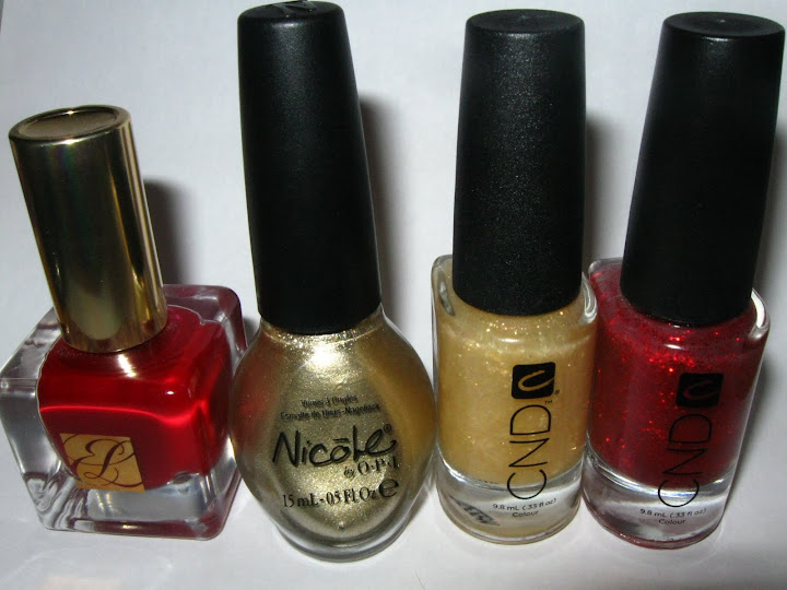 Estee Lauder Pure Color Enchanted Garnet Nicole by OPI Not A Gold Bigger CND 24K Sparkle CND Red Sparkle