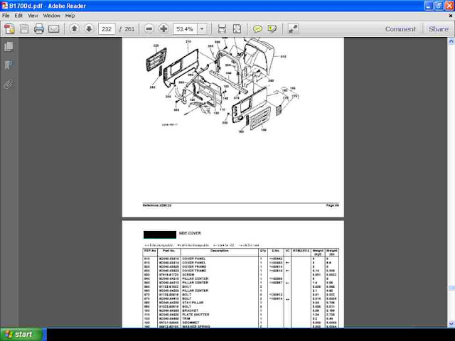 Kubota B1700 Tractor Parts Manuals