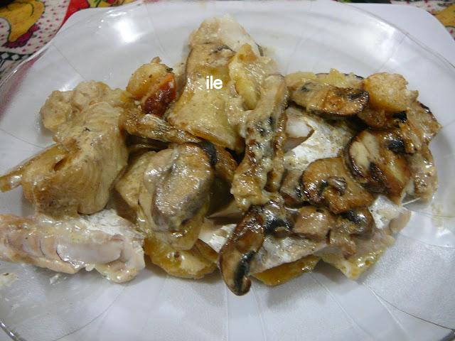 Pescado al horno con hongos y crema la cocina de ile - Como cocinar pescado al horno ...