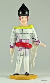 Figurine mit quergestreiftem Kostüm, 1926 - gedrechselt und farbig angelegt