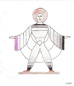 Werkzeichnung zur Figurine mit quergestreiftem Kostüm, 1926