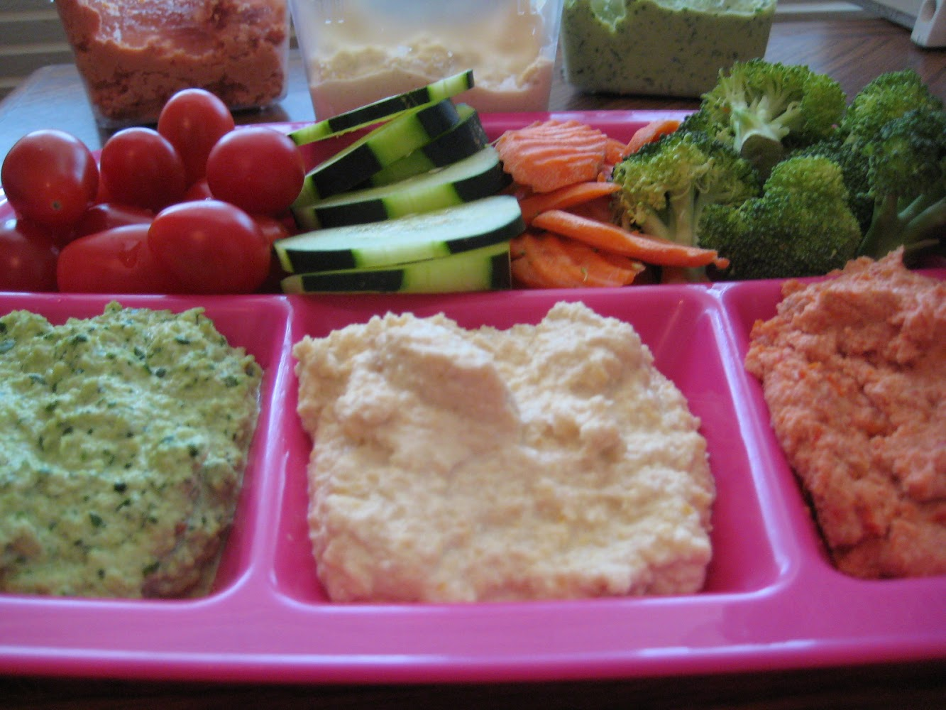 Tri-Colored Hummus with Crudites