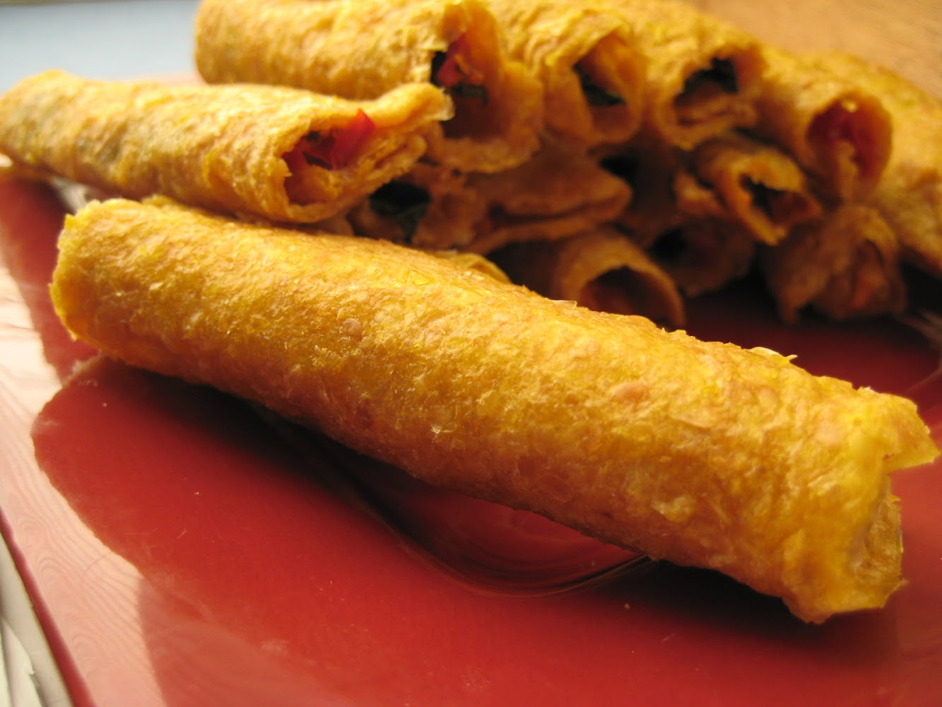 Spicy Spinach and Pepper Taquitos