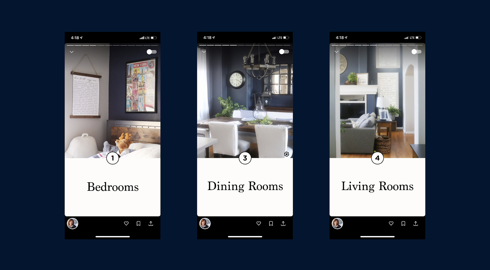 """Three decor Jumprope screenshots with simple descriptions, """"bedrooms"""", """"dining rooms"""", """"living rooms"""""""