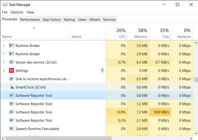 Windows Task Manager as software_reporter_tool.exe