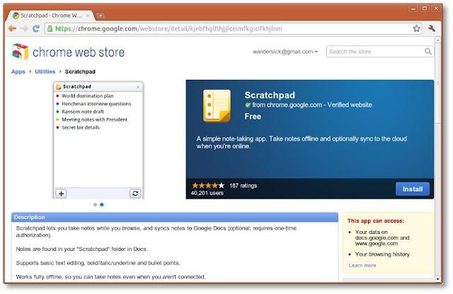 Chrome Web Store(網絡商店)內的 Scratchpad