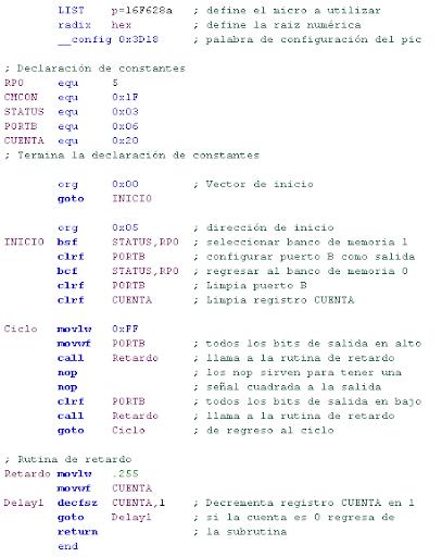 Código en ensamblador de microcontroladores PIC y LED's