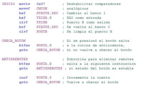Código de programa  para leer botones e interruptores