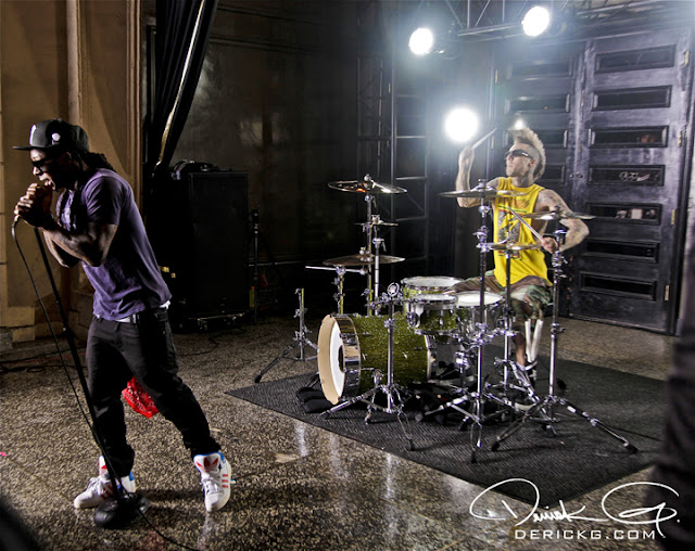 Foto do Lil Wayne na gravação do clipe Can A Drummer Get Some