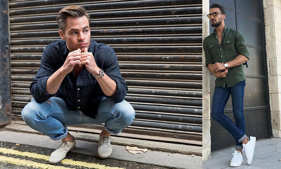 Kết hợp áo sơ mi lanh nam với quần jeans giúp bạn trông năng động, khỏe khoắn hơn