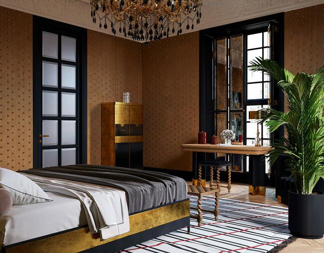 Cây xanh là thành phần không thể thiếu trong các phòng ngủ hiện đại cùng tầm nhìn hướng ra khu vườn xanh mát.